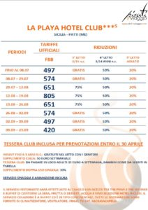 La Playa Hotel Club 3* – Patti (Messina)