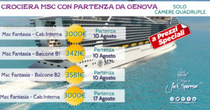 Agosto a bordo di MSC Fantasia da 3000€