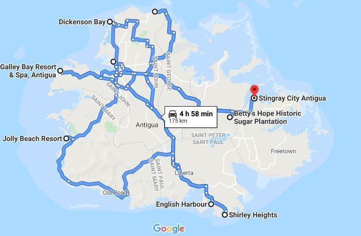 Mappa di Antigua delle città visitate con i percorsi, vista da Google