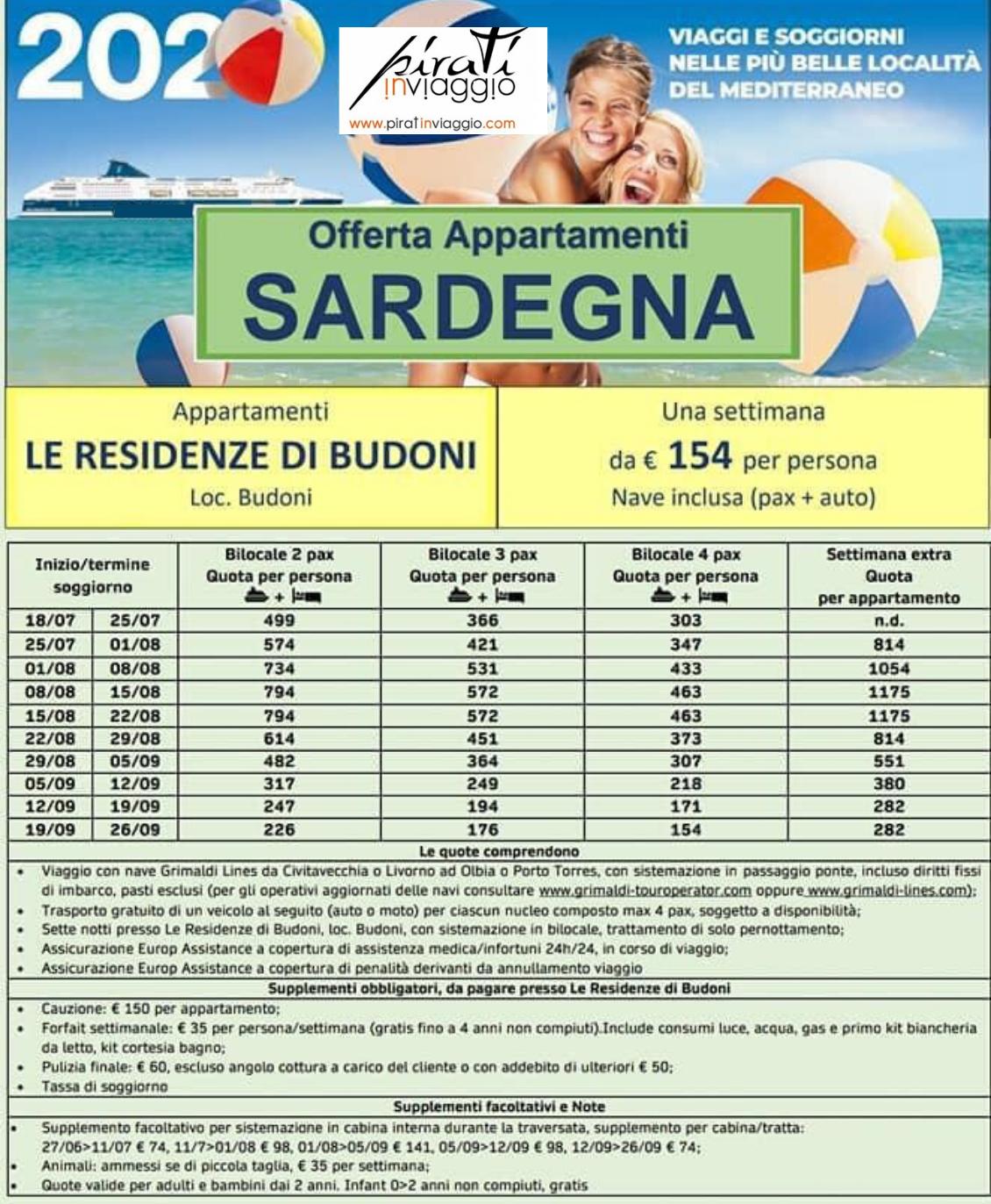 Offerta Appartamenti in Sardegna le Residenze di Budoni