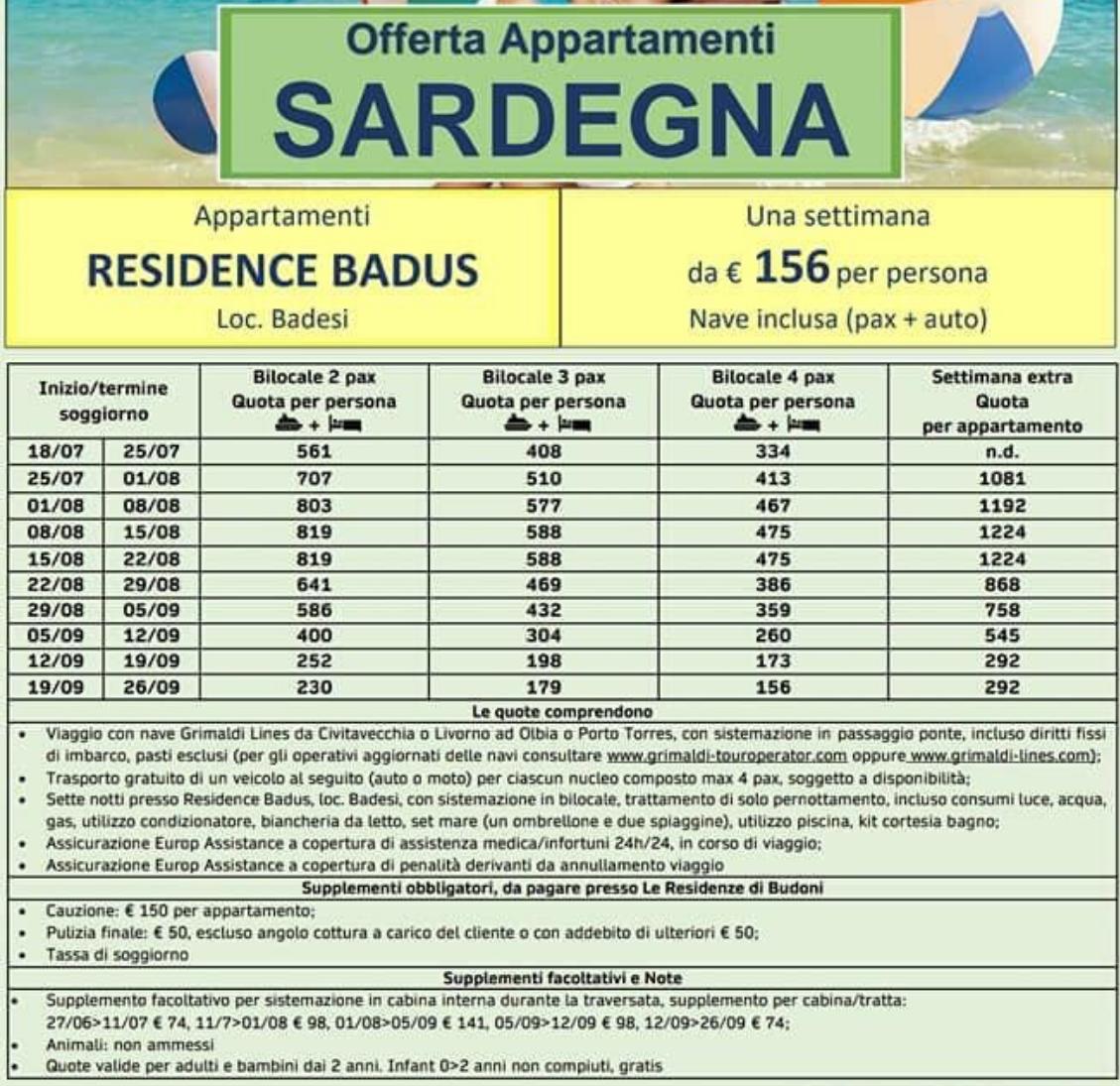 Offerta Appartamenti in Sardegna Resicence Badus