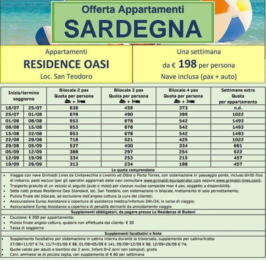 Offerta Appartamenti in Sardegna Residence Oasi