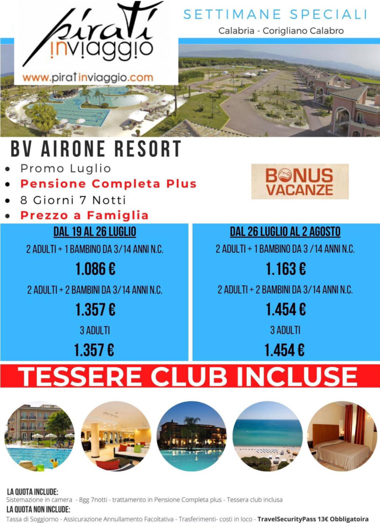 Settimane speciali in offerta ad Agosto 2020 in Calabria