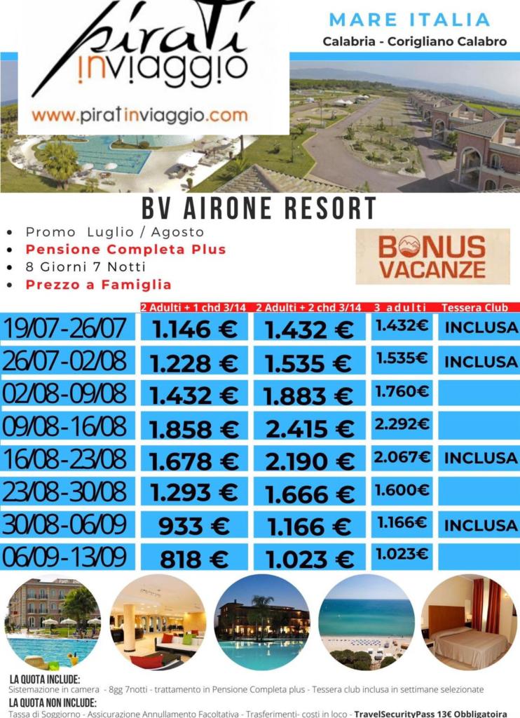 Vacanza ad Agosto 2020 in Calabria al BV Airone Resort